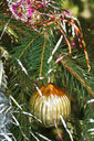 yellow glass bulb christmas tree vintage decoration close up
