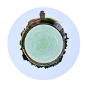 little planet - urban spherical view of cemetery on San Michele island in Venice, Italy isolated on white background