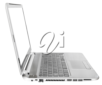 side view of laptop with cut out screen isolated on white background