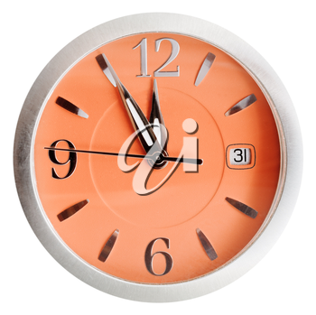 five to twelve o'clock on orange dial isolated on white background