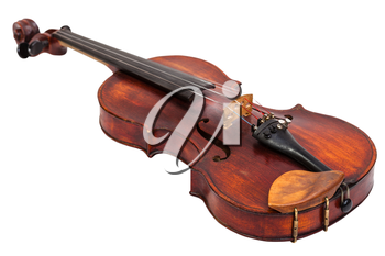 old fiddle with wooden chinrest isolated on white background