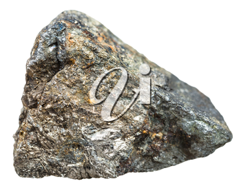 macro shooting of natural mineral stone - Arsenopyrite crystalline stone isolated on white background