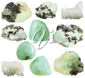 set of various prehnite natural mineral stones and gemstones isolated on white background