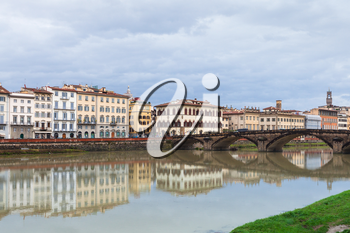 travel to Italy - view of Ponte alla Carraia over Arno river Florence city in autumn rainy day