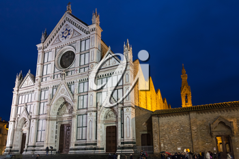 travel to Italy - Basilica di Santa Croce (Basilica of the Holy Cross) on Piazza di Santa Croce in Florence city in rainy night