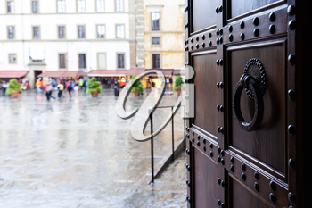 travel to Italy - view from church on square in Florence city in rain