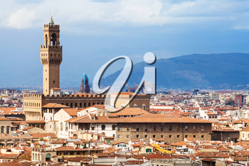 travel to Italy - skyline of Florence city with Palazzo Vecchio from Piazzale Michelangelo