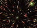 Shining Fireworks Bursts in a Darkness as Abstract Background.
