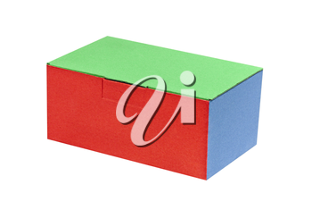 Multicolored paper box isolated on white background.