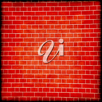 Red brick wall with black border frame suitable as abstract background.