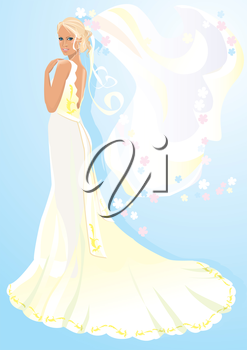 Beautiful young bride on light blue background