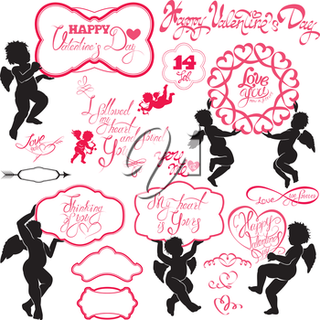 Set of cute angels, Calligraphic text Happy Valentine`s Day, hearts isolated on white background. Elements for holiday card design elements.