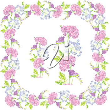 Set of ornaments - decorative hand drawn floral border and frame ...