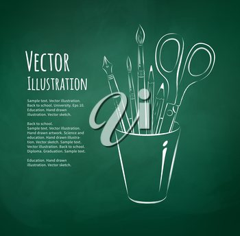 Brushes, pen, pencils and scissors in holder. Chalkboard drawing. Vector illustration.