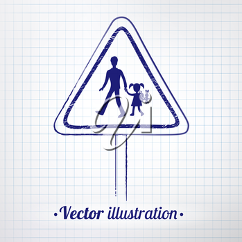 School warning sign drawn on notebook checkered paper. Vector illustration. isolated.