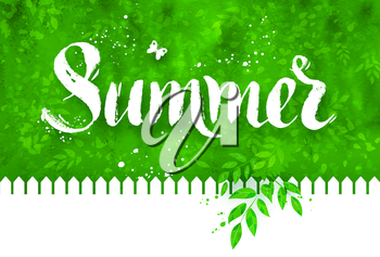 Summer word brush lettering on background with garden fence, foliage, and bushes with watercolor texture.