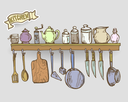 Vector graphic, artistic, stylized shelf with utensils.