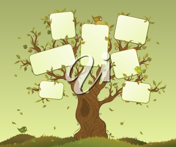 Tree and blank places for your text in foliage.