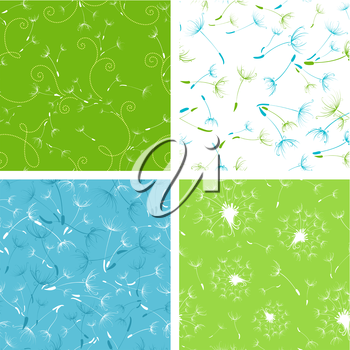 Four bright seamless textures with dandelions.