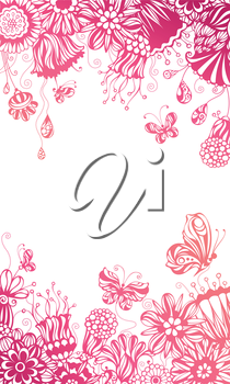 Ornate floral pattern with butterflies on white background. There is place for your text in the center.