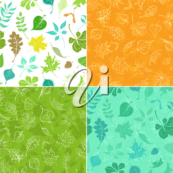 Four colourful boundless backgrounds of leaves and their silhouettes. Boundless texture can be used for web page backgrounds, wallpapers, wrapping papers or invitations.
