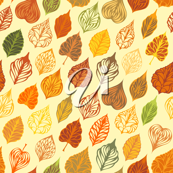 Various ornate leaves on light background. Boundless texture can be used for web page backgrounds, wallpapers, wrapping papers or invitations.