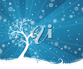 Snow tree on blue winter background. There is place for your text.
