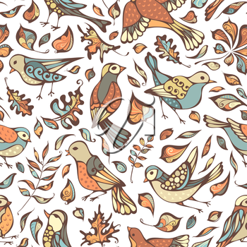 Hand-drawn pastel nature boundless background. Oak, maple, birch, rowan, chestnut leaves.