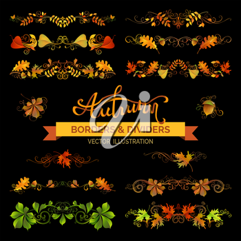 Vector vintage borders, page decorations and dividers. Isolated on black background. Oak, rowan, maple, chestnut, aspen, elm leaves and acorns. Swirls and flourishes.