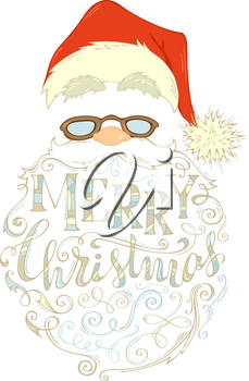 Santa Claus face, hat with pompon, glasses and curly beard isolated on white background.