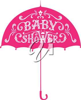 White text on pink umbrella. Swirls and flourishes. Hand-drawn duotone illustration.