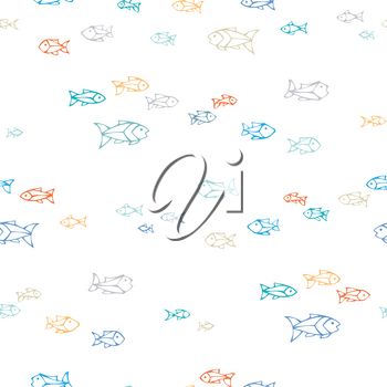 Colourful shoal of outlined fish on white background. Boundless background can be used for web page backgrounds, wallpapers, wrapping papers and invitations.