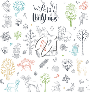Hand-drawn winter trees. Forest animals in Santa hat and scarf. Moose, bear, fox, wolf, deer, owl, hare, squirrel, raccoon, hedgehog, birds and Christmas baubles.