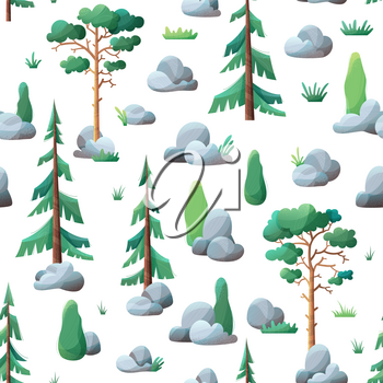 Сoniferous trees on white. Pines, spruces and cypress, stones and grass. Flat boundless background with modern noise texture.