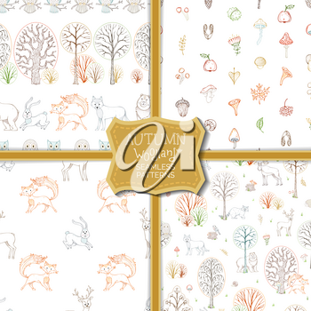 Linear wild animals and birds, autumn trees and bushes. Fox, moose, deer, bear, squirrel, raccoon, hedgehog and others. Tileable backgrounds.