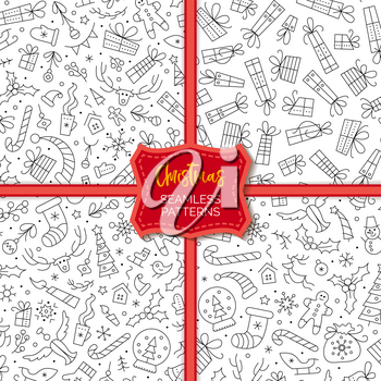 Christmas and New Year seamless patterns set. Winter season outline vector backdrop with linear symbols. Xmas holidays items black and white backgrounds pack. Festive wrapping paper, textile design