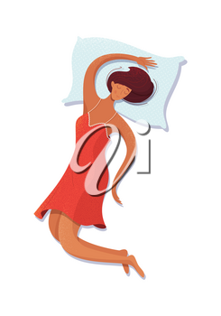 Girl sleeping on her back vector illustration. Female brunette sleeper cartoon character lying on blue pillow. Sleeping woman flat drawing isolated on white background. Bedtime concept