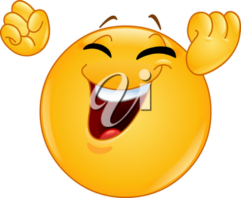 Excited happy emoticon raising his clenches fists making a winning or celebrating gesture