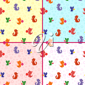 Four identical seamless vector patterns with cartoon cats, dogs and mouse on the geometrical background. Backgrounds can be used as a separate vector pattern