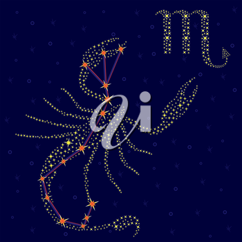 Zodiac sign Scorpio on a background of the starry sky with the scheme of stars in the constellation, vector illustration