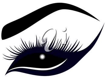 Abstract female eye with long lashes, vector illustration in dark blue and black hues
