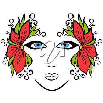Abstract colorful female face with stylized floral accessories, hand drawing vector illustration
