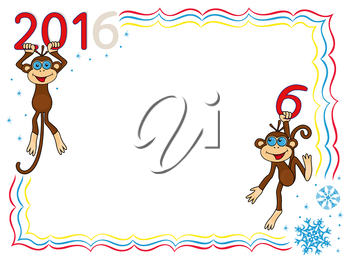 Greeting card with two Amusing Monkeys and inscription 2016, cartoon vector artwork on the winter background with frame and snowflakes
