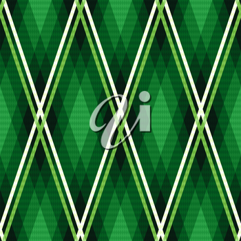 Rhombic seamless vector fabric pattern mainly in emerald hues with contrast lines