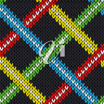 Seamless knitting geometrical vector pattern with various color lines over grey background as a knitted fabric texture