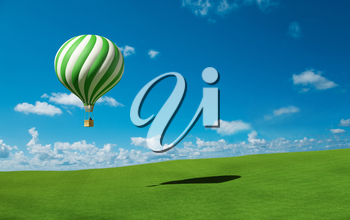 Green-white Hot Air Balloon in the blue sky