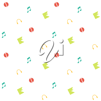 Clean And Simple Musical Seamless Pattern In Flat Design Abstract