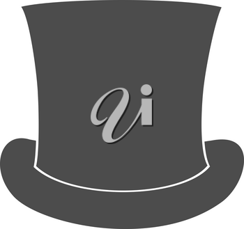 Top Hat Silhouette isolated on White Background. Vector illustration
