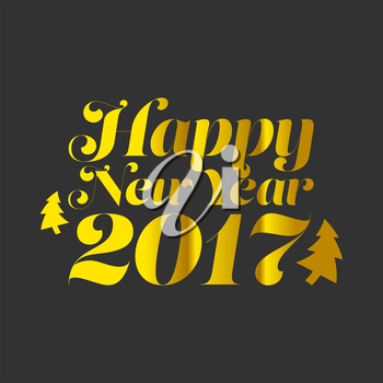 Happy New Year 2017 with golden texture and black background