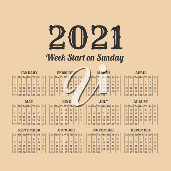 2021 year calendar in the vintage style on a beige background
